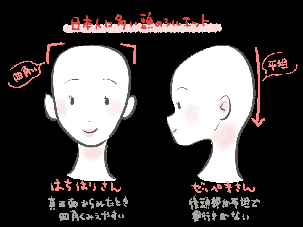 日本人に多いハチ張りが目立つ頭の形