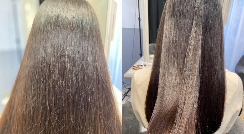 美容院でヘアオイルを馴染ませた髪の変化
